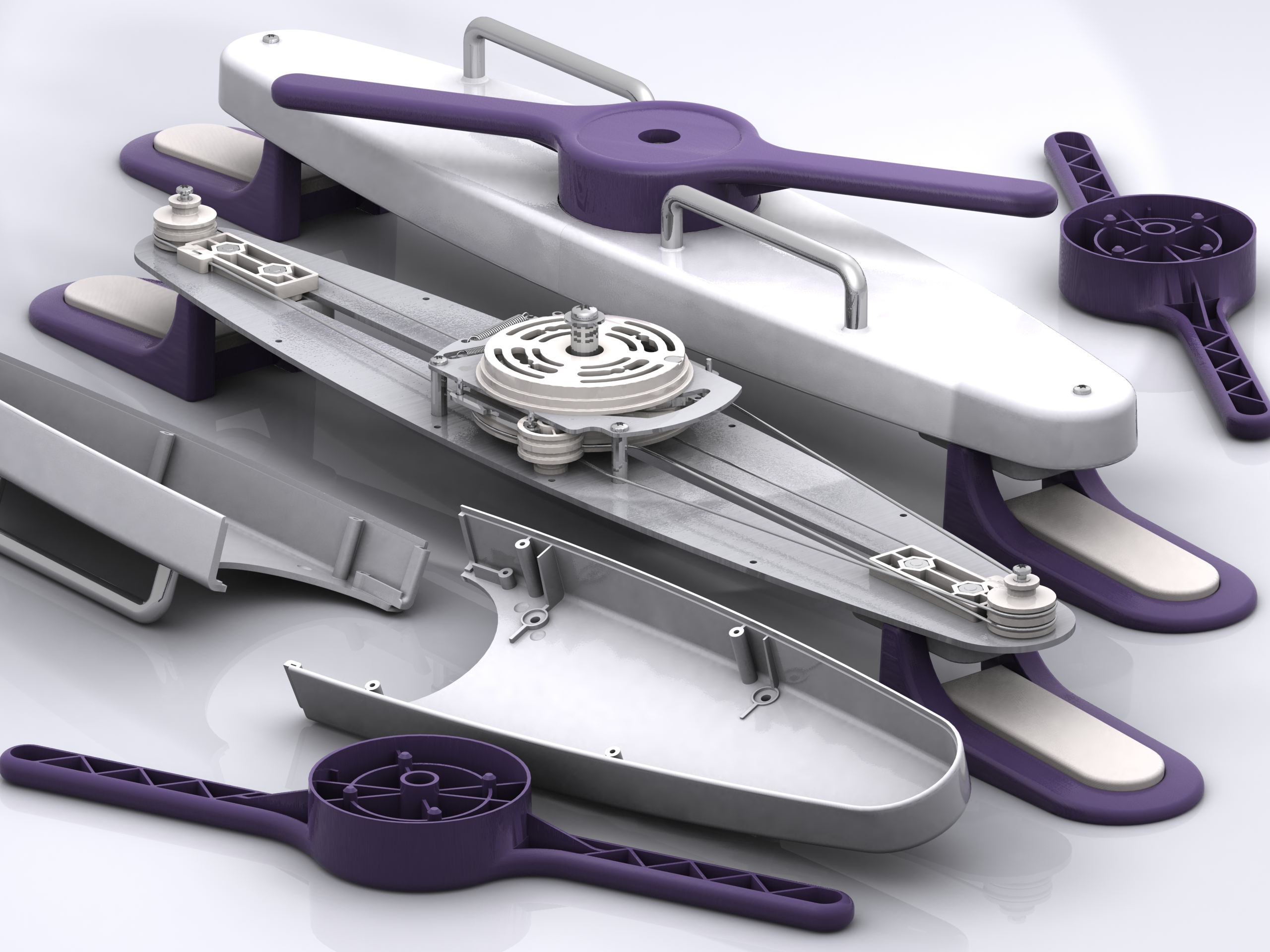 Aductor muscle stretching physiotherapy device trial models