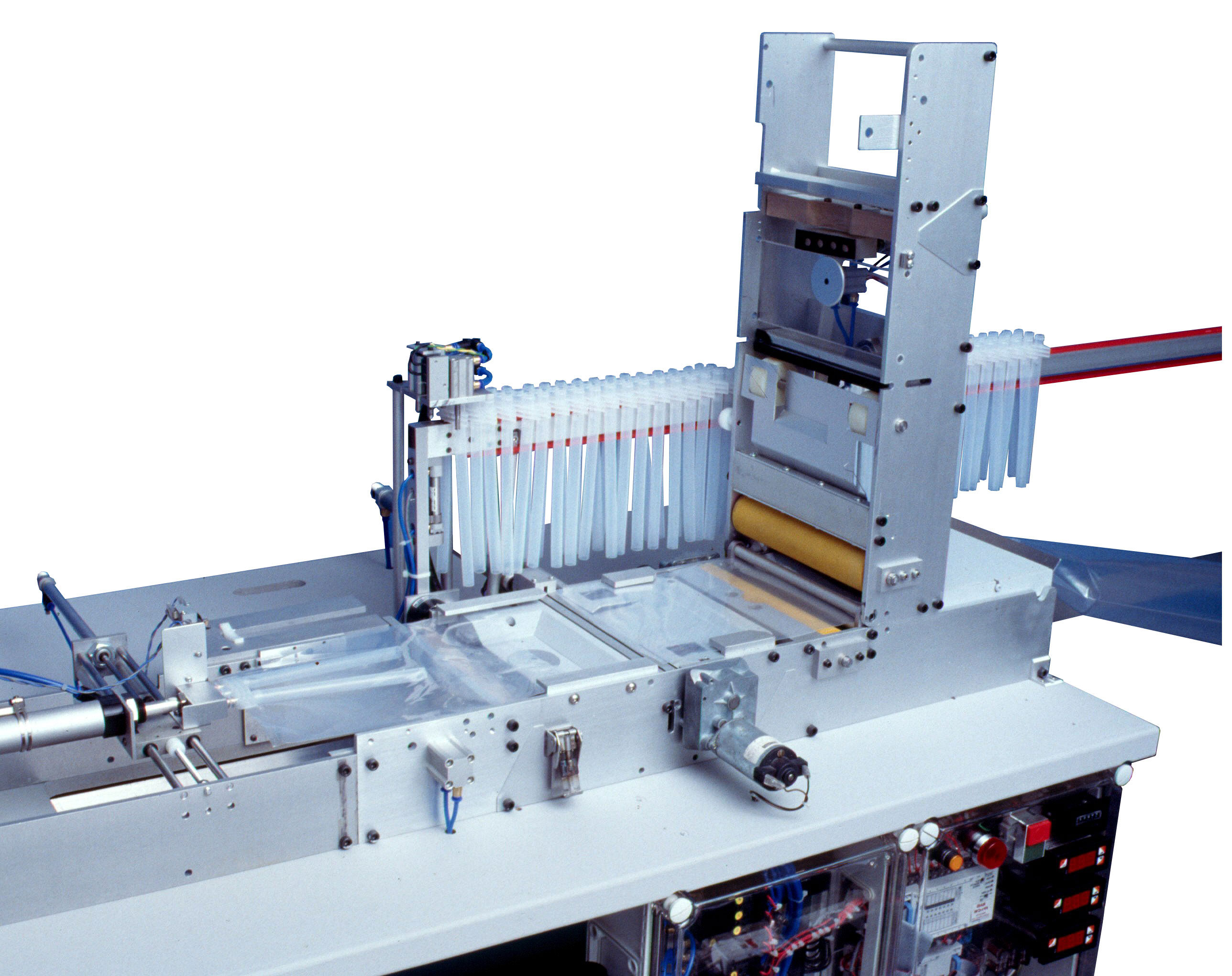 Bag making and tube insertion and welding production machine